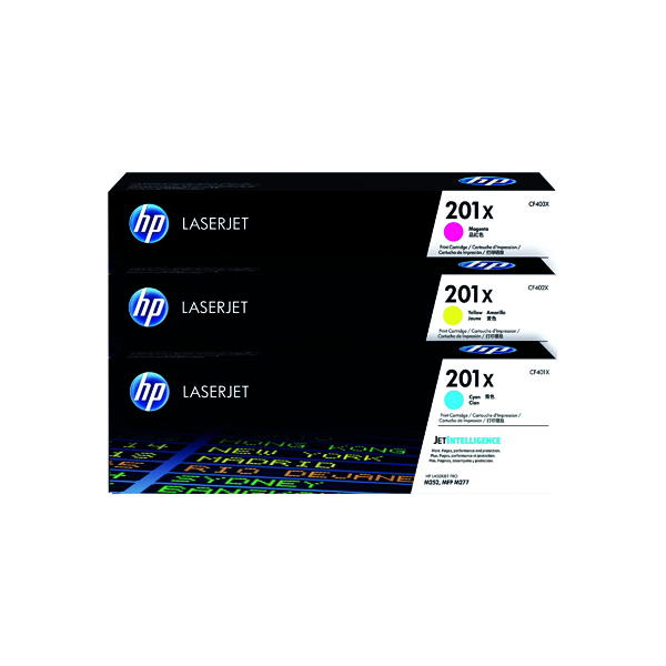 HP 201X High Yield Cyan Magenta Yellow Laserjet Toner Cartridge (Pack of 3) CF253XM