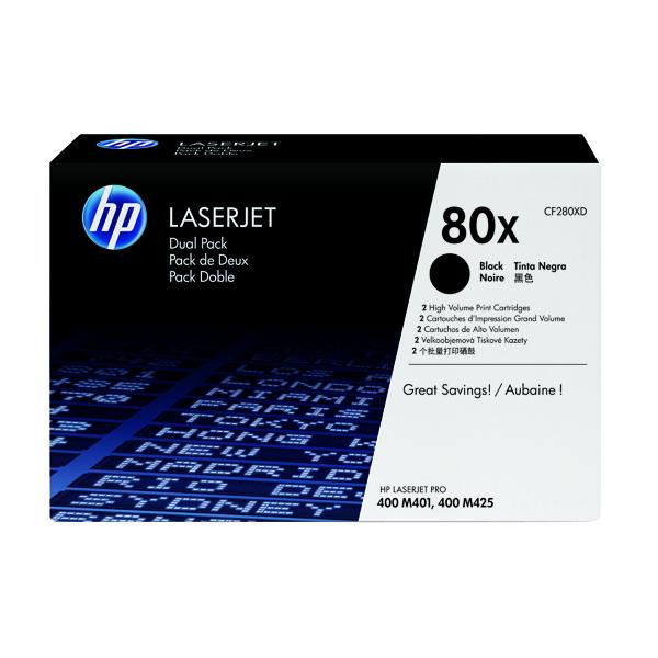 HP 80X Black High Yield Laserjet Toner Cartridge (Pack of 2) CF280XD