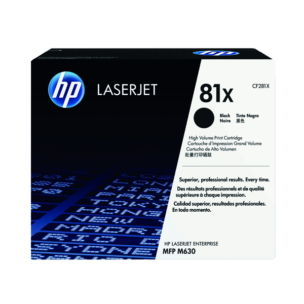 HP 81X Black High Yield Laserjet Cartridge (25,000 page capacity) 281X