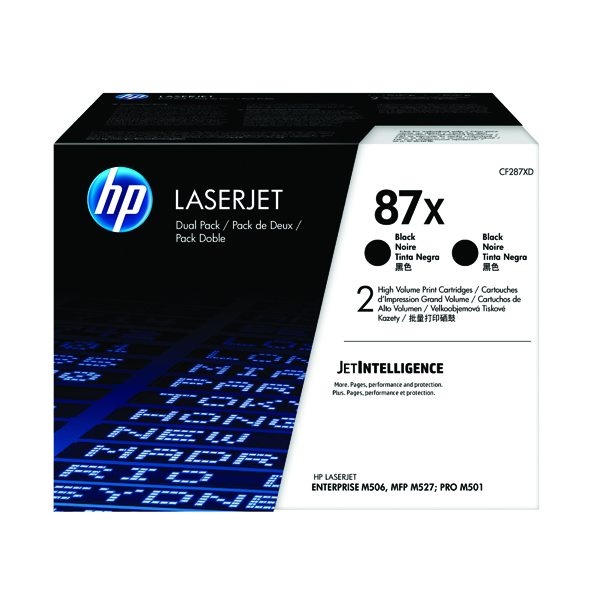 HP 87X High Yield Black Laserjet Toner Cartridge (Pack of 2) CF287XD