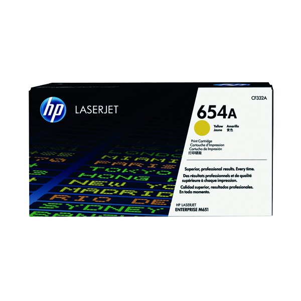 HP 654A Yellow Laserjet Toner Cartridge CF332A