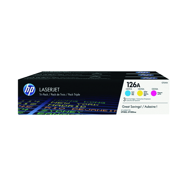 HP 126A Cyan/Magenta/Yellow Laserjet Toner Cartridge (Pack of 3) CF341A