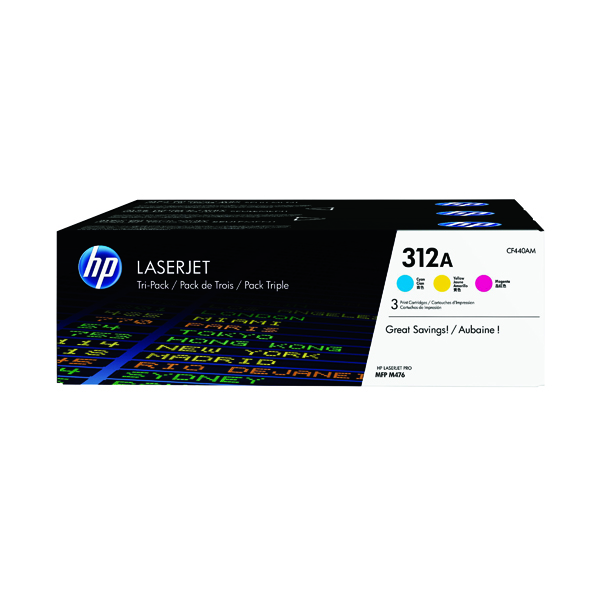 HP 312A Cyan/Yellow/Magenta Laserjet Toner Cartridge (Pack of 3) CF440AM