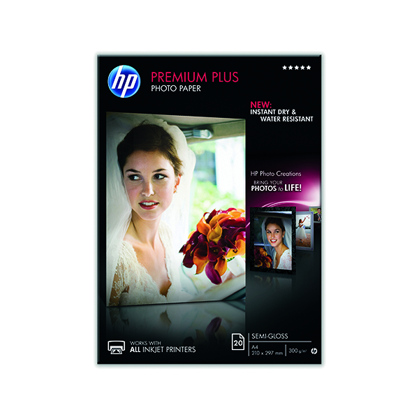 HP A4 White Premium Semi-Glossy Photo Paper (Pack of 20) CR673A