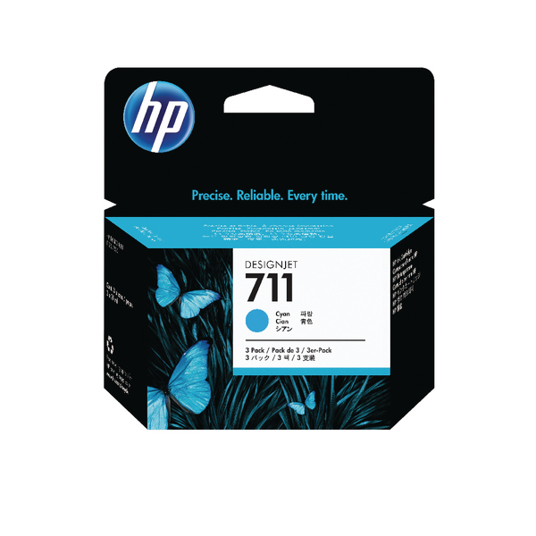 HP 711 Cyan Inkjet Cartridge Tri-Pack CZ134A