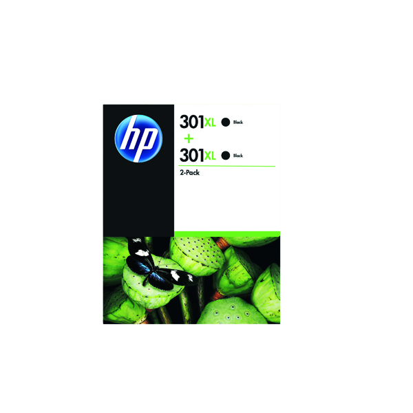 HP 301XL High Yield Black Inkjet Cartridge (Pack of 2) D8J45AE