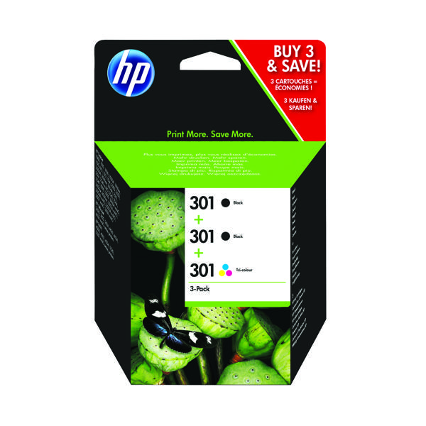 HP 301 Black and Tri-Colour 3 Pack Ink Cartridges E5Y87EE