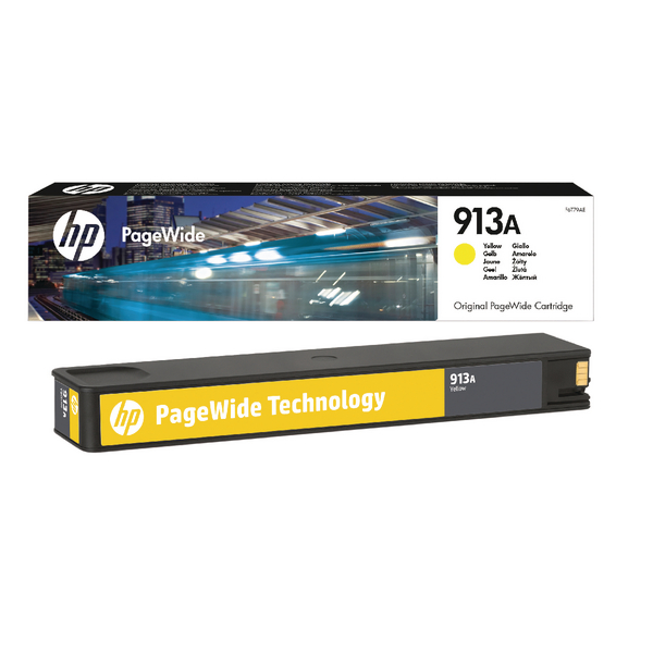 HP 913A Yellow PageWide Inkjet Cartridge (Capacity: 3000 pages) F6T79AE