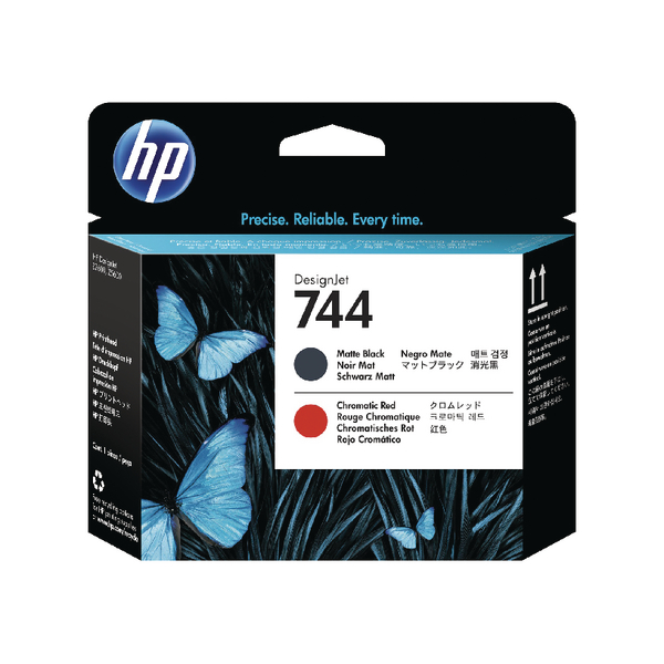 HP 744 Matte Black and Red Printhead F9J88A