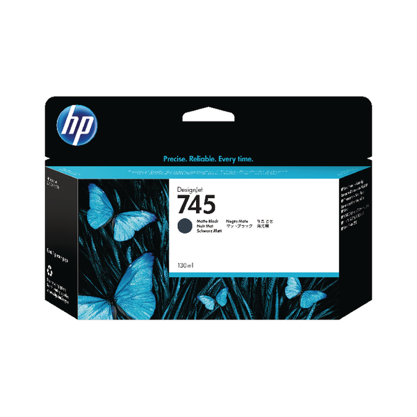 HP 745 DesignJet Matte Black Ink Cartridge 130ml F9J99A