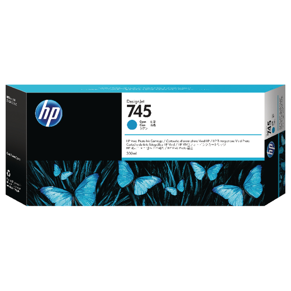 HP 745 DesignJet Ink Cyan Cartridge F9K03A