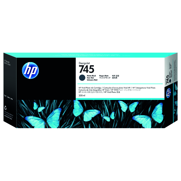 HP 745 DesignJet Matte Black Ink Cartridge (Capacity: 300ml) F9K05A