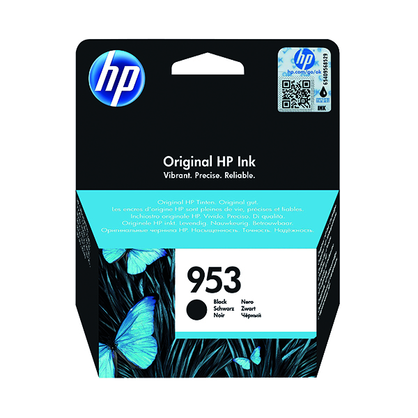 HP 953 Black Ink Cartridge (Standard Yield, 23.5ml, 1,000 Page Capacity) L0S58AE
