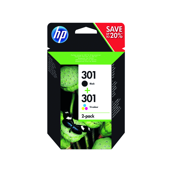 HP 301 Black /Colour Ink Cartridges (Pack of 2) N9J72AE