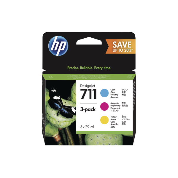 HP 711 Cyan Magenta Yellow DesignJet Ink Cartridge 80ml (Pack of 3) P2V32A