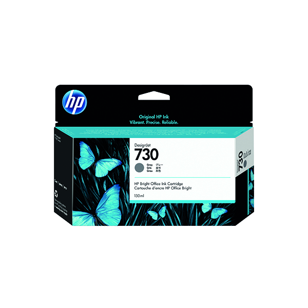 HP 730 130ml Grey DesignJet Ink Cartridge (Capacity: 130ml) P2V66A