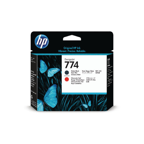 HP 774 Matte Black and Chromatic Red Printhead P2V97A