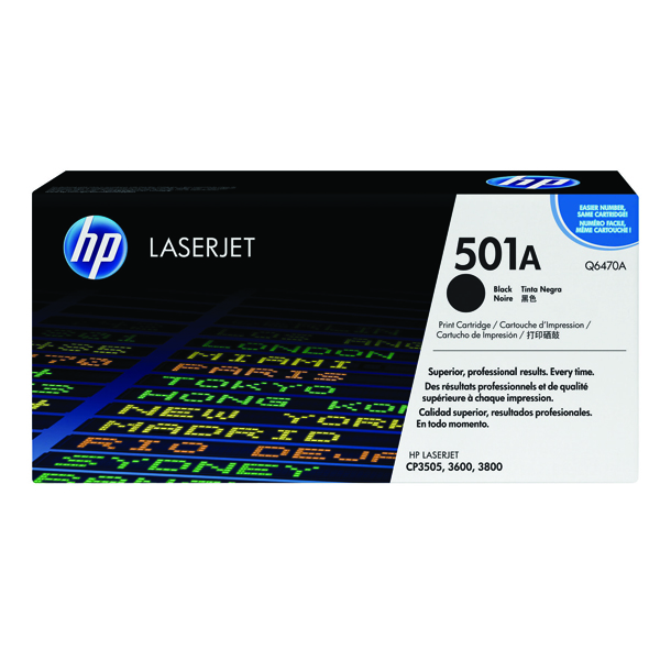 HP 501A Black Laserjet Toner Cartridge Q6470A