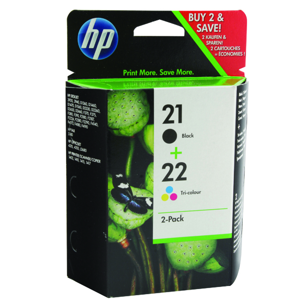 HP 21/22 Black /Cyan/Magenta/Yellow Ink Cartridges (Pack of 2) SD367AE
