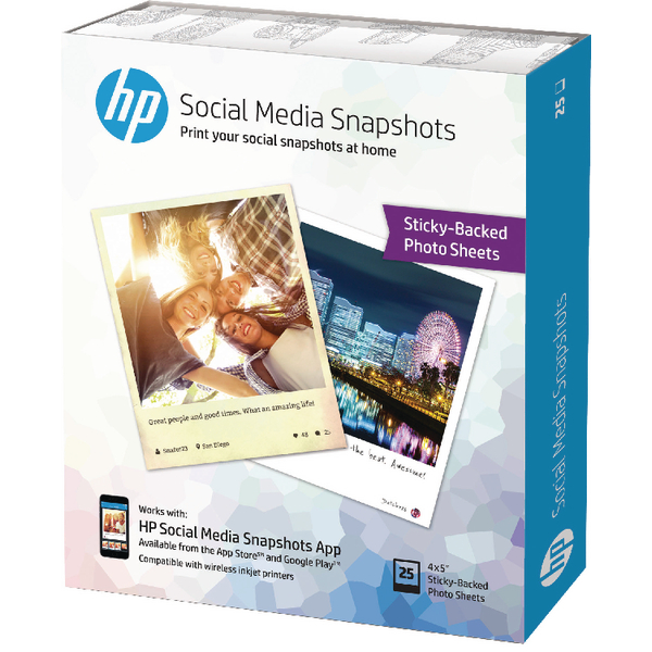 HP Social Media Snapshots 10x13cm (Pack of 25) W2G60A