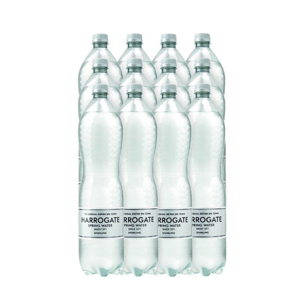 Harrogate Spring Bottled Water Sparkling 1.5L PET Silver Label/Cap (Pack of 12) P150122C