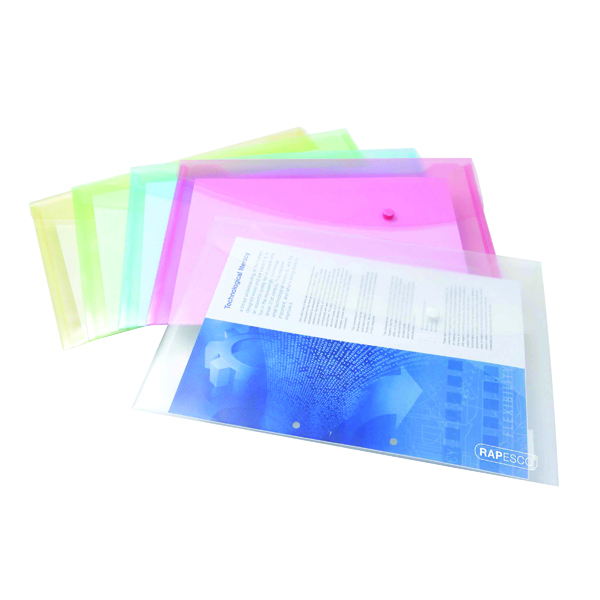Rapesco Popper Wallet Foolscap Assorted Pastel (Pack of 5) 0696