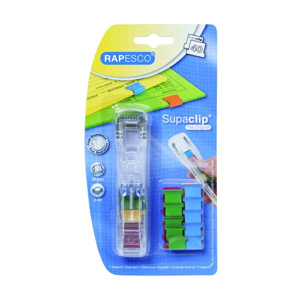 Rapesco Supaclip 40 Dispenser Multicoloured with 25 Clips A25B