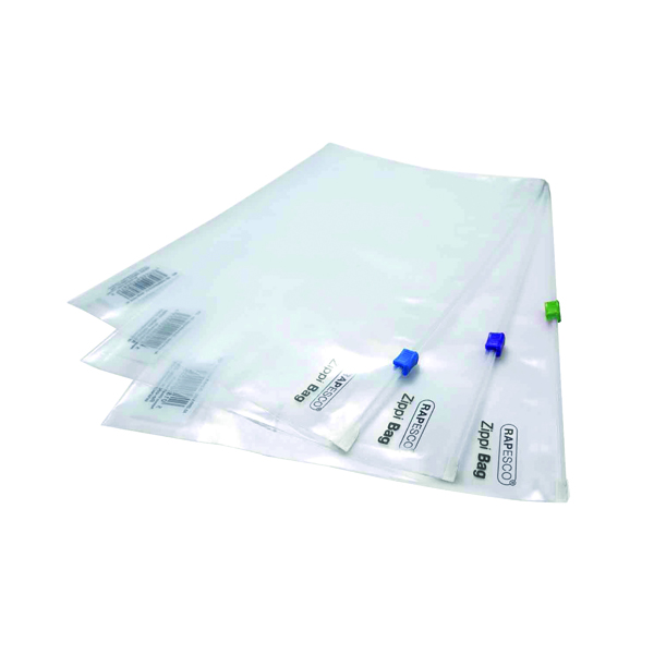 Rapesco Zippi Bags Plastic Zip A4 Plus Clear (Pack of 25) 0796