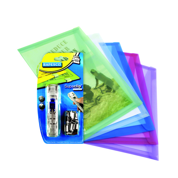 Rapesco Eco Popper Wallet A4 Assorted FOC Supaclips (Pack of 5)