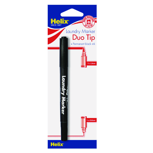Helix Laundry Marker Twin Tip Permanent Black (Pack of 10) S28070
