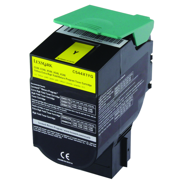 Lexmark C544 Yellow Extra High Yield Return Program Toner 0C544X1CG