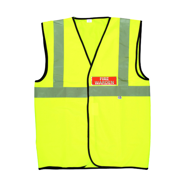 Fire Warden Vest High Visibility XL Yellow (Conforms to EN471 Class 2) IVGFVW