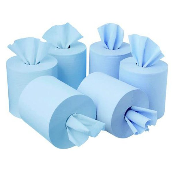 Initiative Centrefeed Roll 150m Blue Two-Ply 400mm x 180mm Sheets Pack 6