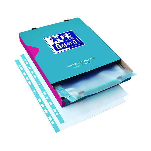 Oxford Punched Pocket 75micron A4 Blue/Clear (Pack of 100) 400002150