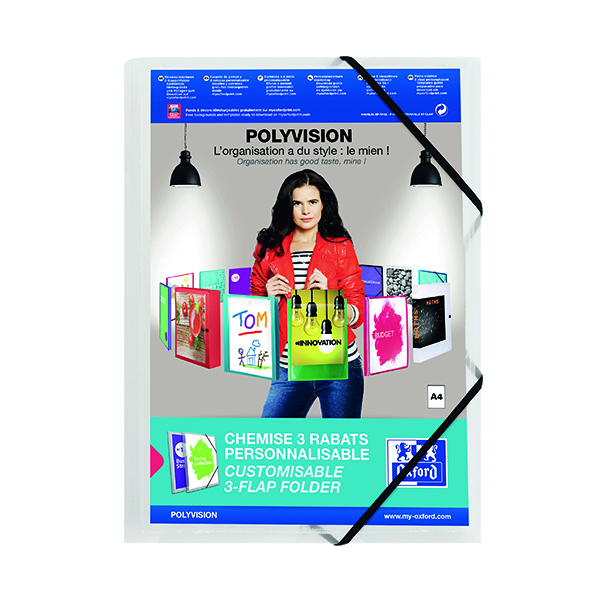 Oxford Polyvision 3 Flap Folder PP A4 Clear (Pack of 12) 100201153