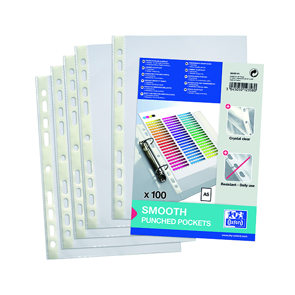 Oxford Punched Pocket 60 micron A5 Clear (Pack of 100) 400025671