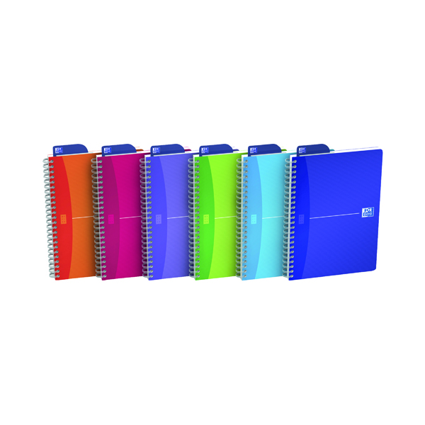 Oxford Poly Translucent Wirebound Notebook A5 Assorted (Pack of 5) 100104780