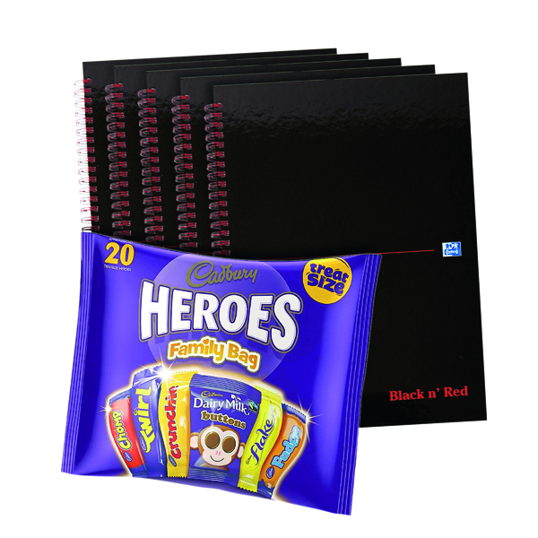 Image for BUY BnR A4 WB Glossy 5 Pack Ruled Plus FOC Heroes Family Bag