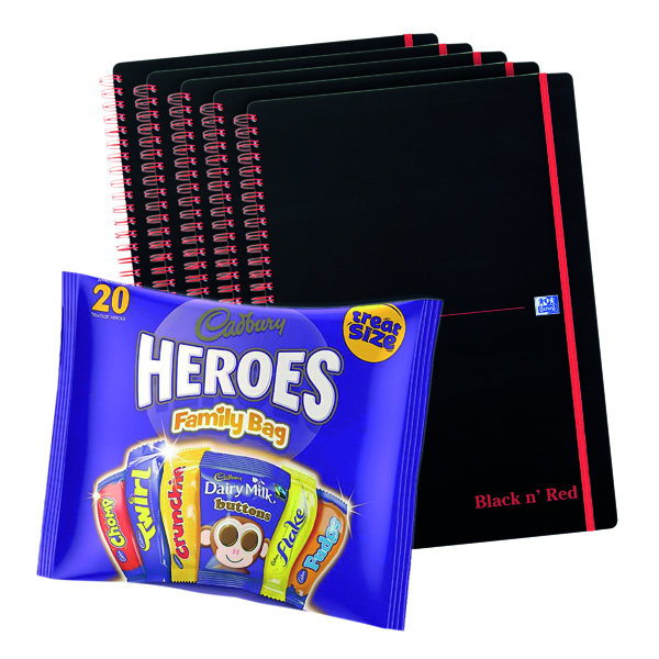 Image for BUY BnR A4 WB Polyp 5 Pack Ruled Perforated Plus FOC Heroes Family Bag
