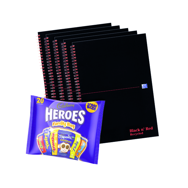 Image for BUY BnR A4 WB Glosy 5 Pack Ruled Recycled Plus FOC Heroes Family Bag