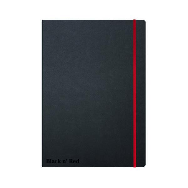 Black n' Red Casebound Hardback Notebook A4 Black 400038675