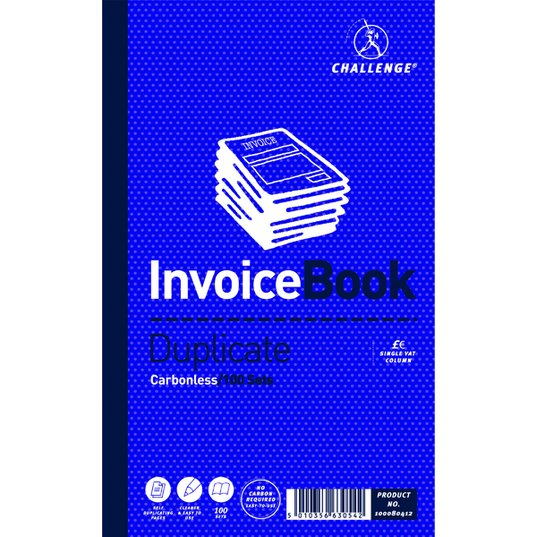 Challenge Duplicate Invoice Single VAT Column Book 100 Sets 210 x 130mm (Pack of 5) 100080412
