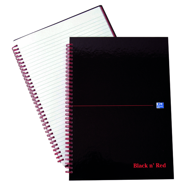Black n' Red Ruled Wirebound Hardback Notebook A4 (Pack of 5) 846350115