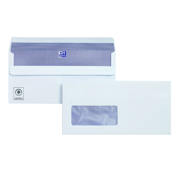 Plus Fabric DL Envelopes Window Wallet Self Seal 120gsm White (Pack of 250) C23370
