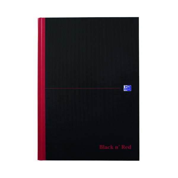 Black n' Red Feint Ruled Casebound Hardback Notebook Ruled A4 (Pack of 5) 100080446