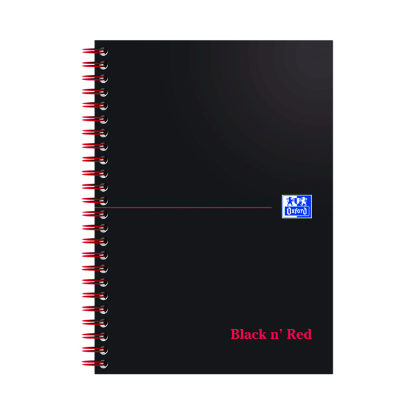 Black n' Red Wirebound Notebook 100 Pages A5 (Pack of 10) D66369