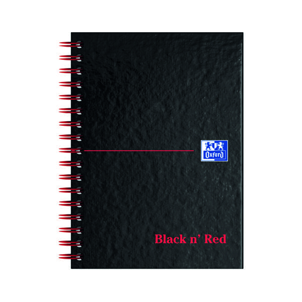 Black n' Red Ruled Perforated Wirebound Hardback Notebook A6 (Pack of 5) 100080448