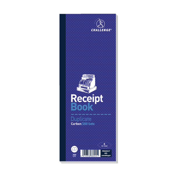 Challenge Duplicate Receipt Book 200 Sets 241x92mm (Pack of 10) 100080450