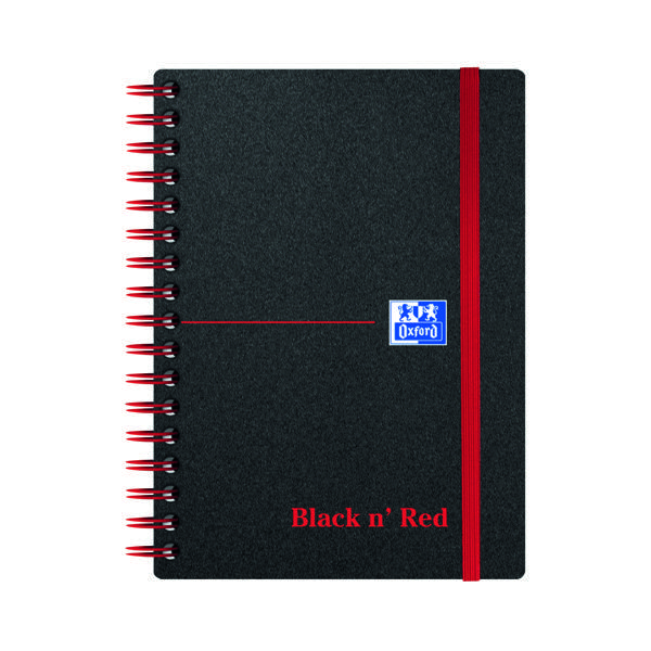 Black n' Red Ruled Polypropylene Wirebound Notebook 140 Pages A6 (Pack of 5) 100080476