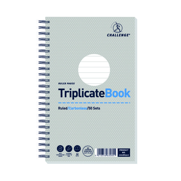 Challenge Ruled Wirebound Carbonless Triplicate Book 50 Sets 210x130mm (Pack of 5) 100080512